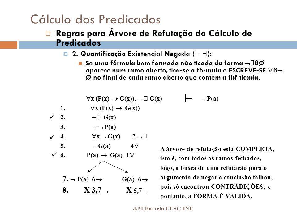 Cálculo dos Predicados J.M.Barreto UFSC-INE Regras para Árvore de Refutação do Cálculo de Predicados 2. Quantificação Existencial Negada ( ): Se uma f