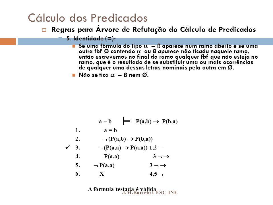 Cálculo dos Predicados J.M.Barreto UFSC-INE Regras para Árvore de Refutação do Cálculo de Predicados 5. Identidade (=): Se uma fórmula do tipo = ß apa