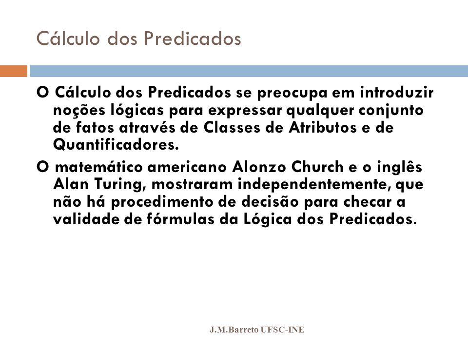 Cálculo dos Predicados J.M.Barreto UFSC-INE CLASSE DE ATRIBUTOS: São representados pelos substantivos comuns, locuções nominais, adjetivos, locuções adjetivas, verbos e locuções verbais.