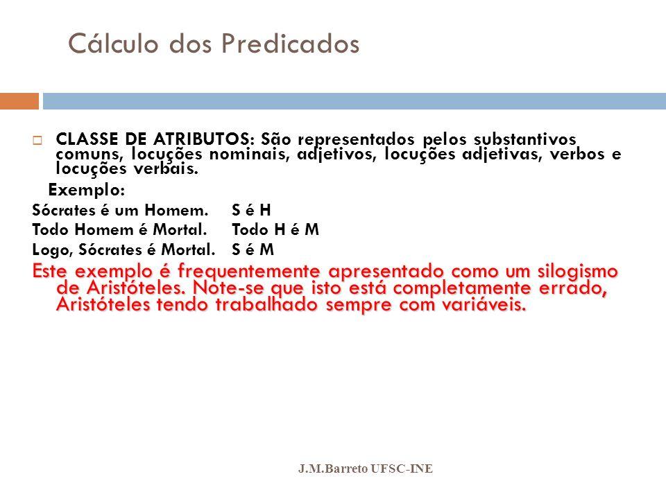 Cálculo dos Predicados J.M.Barreto UFSC-INE QUANTIFICADORES: QUANTIFICADORES: São operadores lógicos, mas em vez de indicarem relações entre sentenças, eles expressam relações entre conjuntos designados pelas classes de atributos, isto é, expressam propriedades de coleções de objetos, evitando que tenhamos de enumerar cada objeto individualmente como na Lógica Proposicional.