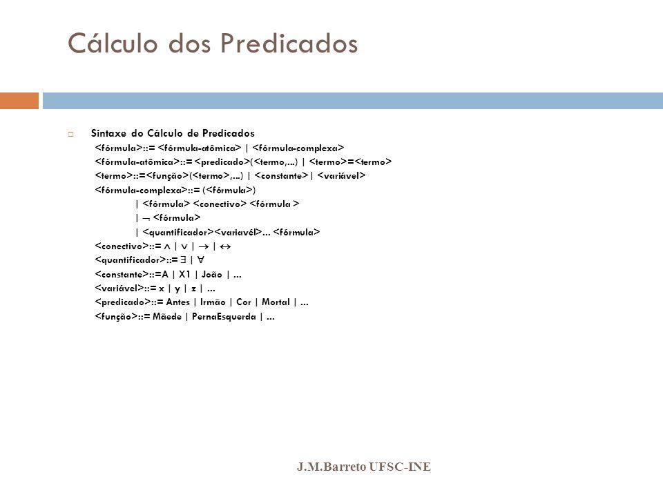 Cálculo dos Predicados J.M.Barreto UFSC-INE Sintaxe do Cálculo de Predicados ::= | ::= ( = ::= (,...) | | ::= ( ) | |... ::= | | | ::= | ::=A | X1 | J