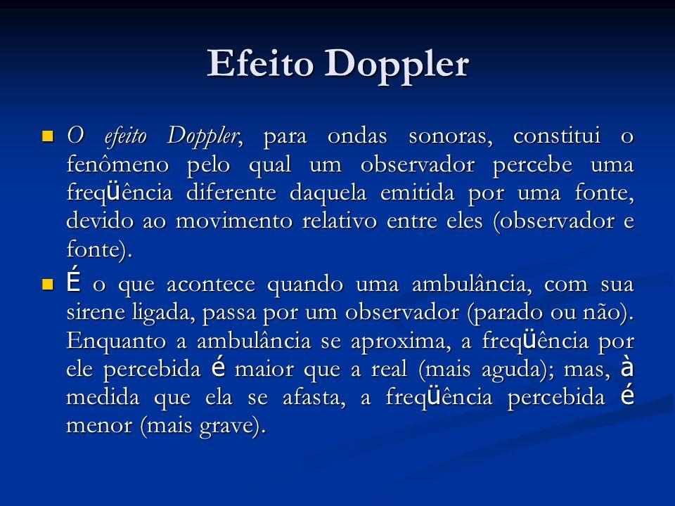 Efeito Doppler O efeito Doppler, para ondas sonoras, constitui o fenômeno pelo qual um observador percebe uma freq ü ência diferente daquela emitida p
