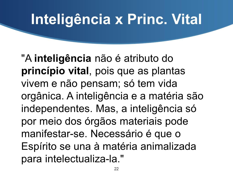 Inteligência x Princ. Vital