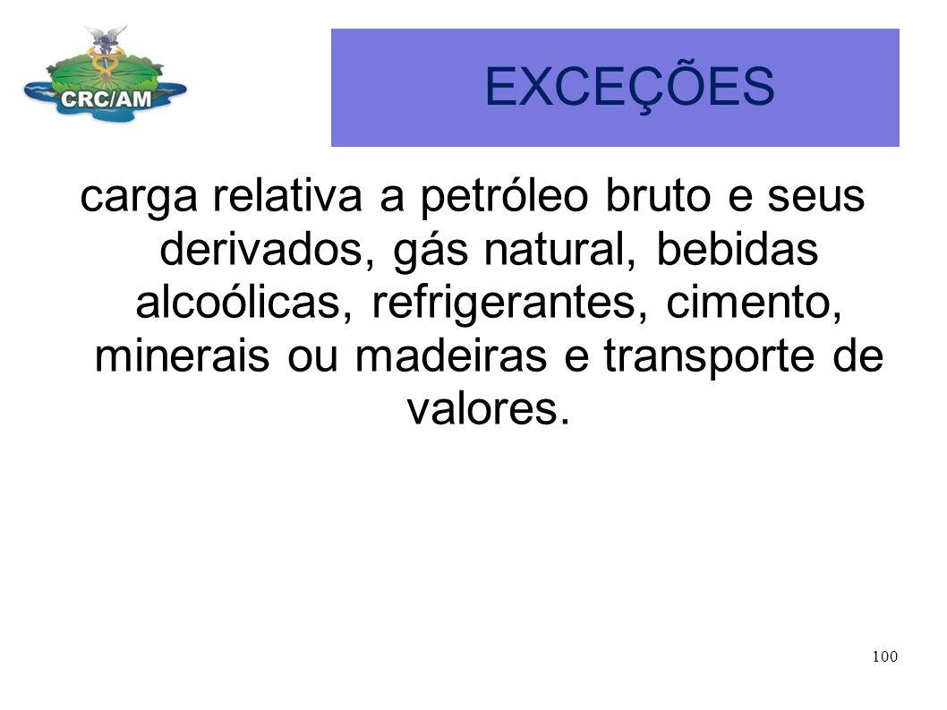 EXCEÇÕES carga relativa a petróleo bruto e seus derivados, gás natural, bebidas alcoólicas, refrigerantes, cimento, minerais ou madeiras e transporte