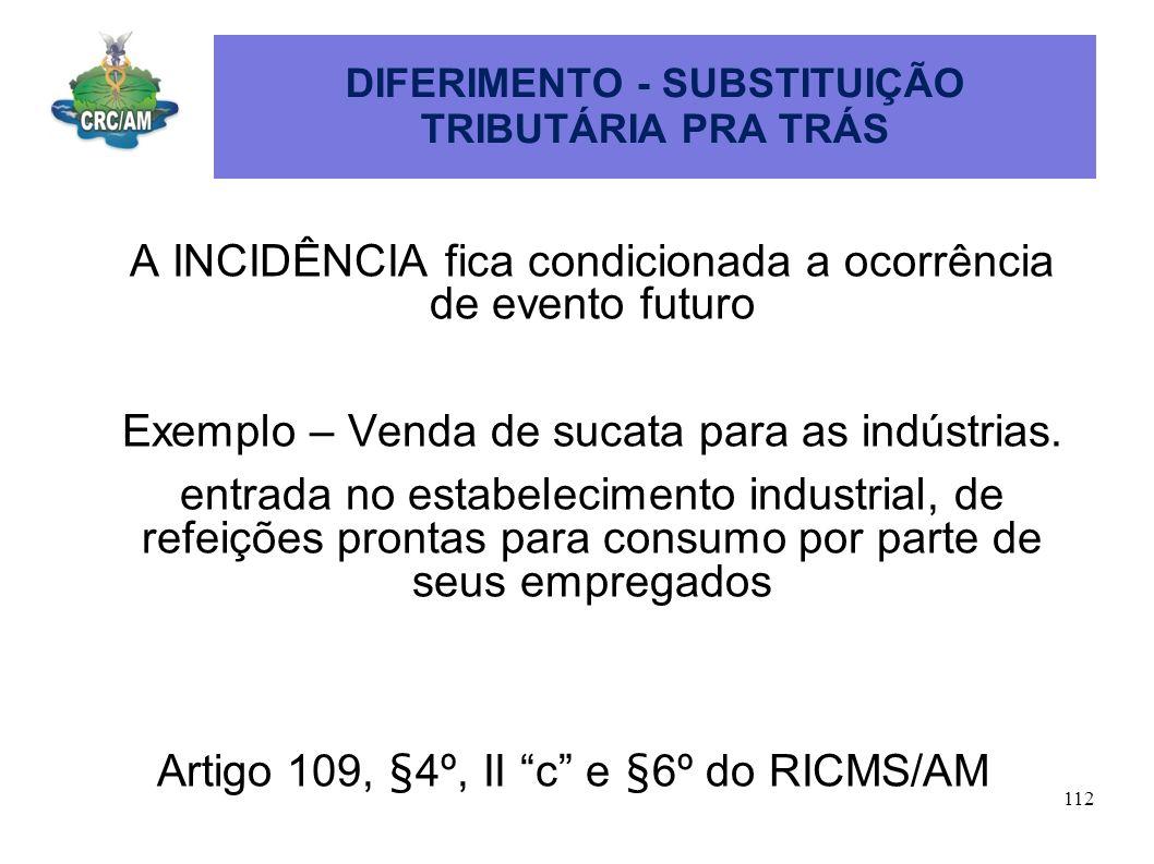 DIFERIMENTO - SUBSTITUIÇÃO TRIBUTÁRIA PRA TRÁS A INCIDÊNCIA fica condicionada a ocorrência de evento futuro Exemplo – Venda de sucata para as indústri