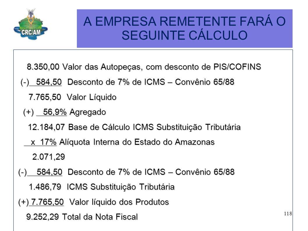 A EMPRESA REMETENTE FARÁ O SEGUINTE CÁLCULO 8.350,00 Valor das Autopeças, com desconto de PIS/COFINS 8.350,00 Valor das Autopeças, com desconto de PIS