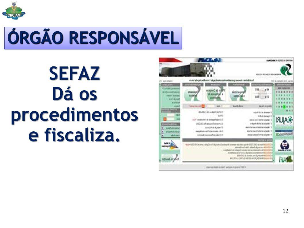 ÓRGÃO RESPONSÁVEL SEFAZ Dá os procedimentos e fiscaliza. 12