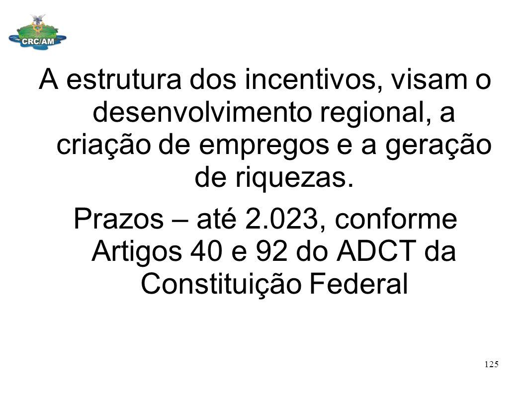 A estrutura dos incentivos, visam o desenvolvimento regional, a criação de empregos e a geração de riquezas. Prazos – até 2.023, conforme Artigos 40 e