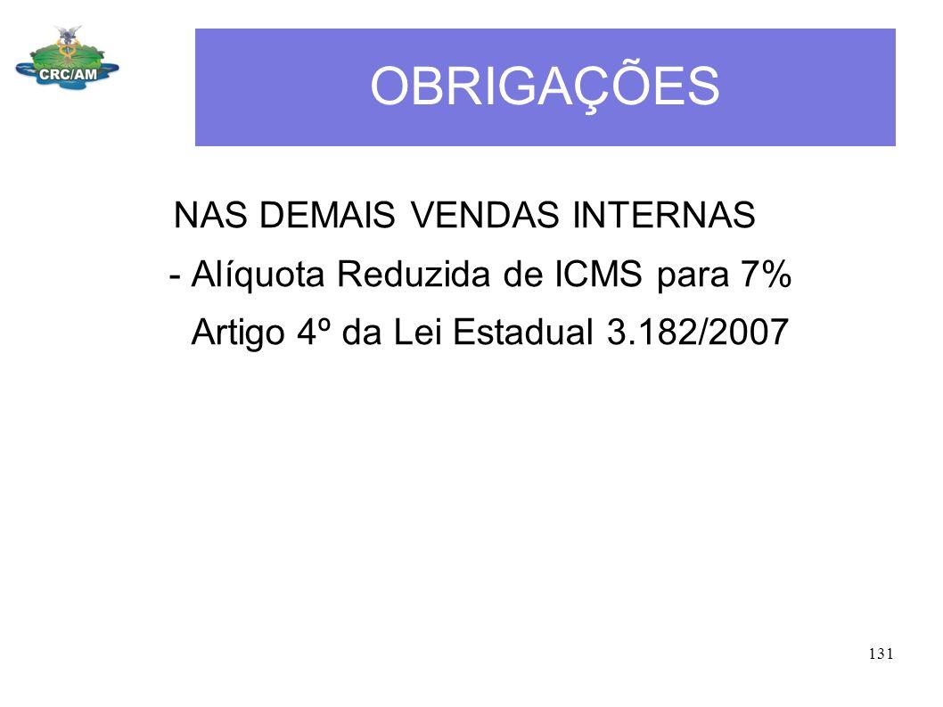 OBRIGAÇÕES NAS DEMAIS VENDAS INTERNAS - Alíquota Reduzida de ICMS para 7% Artigo 4º da Lei Estadual 3.182/2007 131