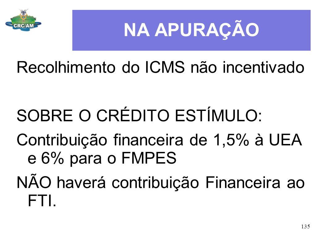 NA APURAÇÃO Recolhimento do ICMS não incentivado SOBRE O CRÉDITO ESTÍMULO: Contribuição financeira de 1,5% à UEA e 6% para o FMPES NÃO haverá contribu