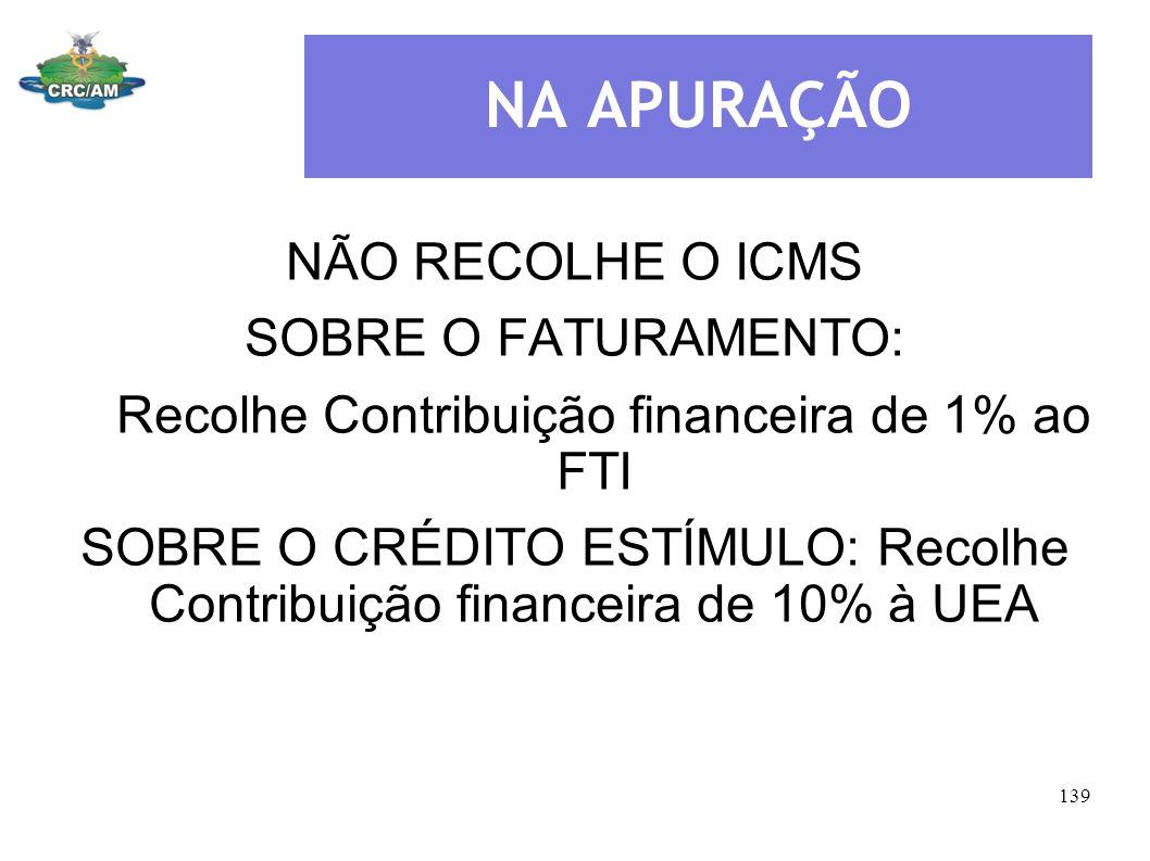 NA APURAÇÃO NÃO RECOLHE O ICMS SOBRE O FATURAMENTO: Recolhe Contribuição financeira de 1% ao FTI SOBRE O CRÉDITO ESTÍMULO: Recolhe Contribuição financ