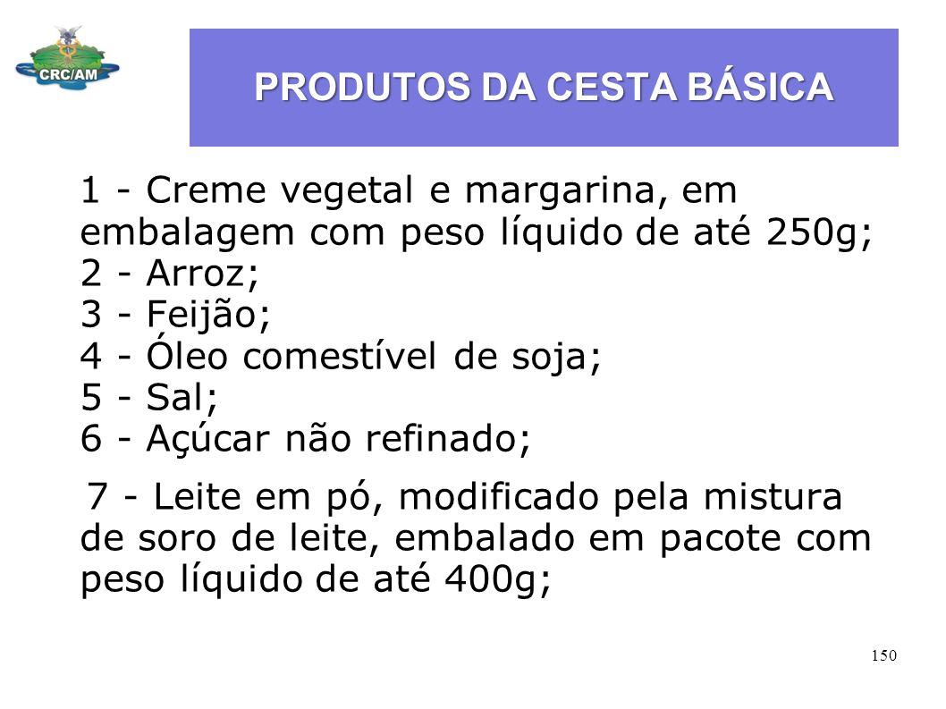 PRODUTOS DA CESTA BÁSICA 1 - Creme vegetal e margarina, em embalagem com peso líquido de até 250g; 2 - Arroz; 3 - Feijão; 4 - Óleo comestível de soja;