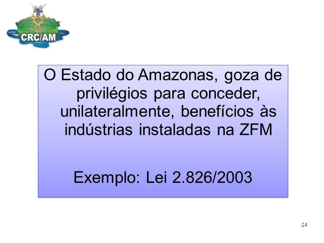 O Estado do Amazonas, goza de privilégios para conceder, unilateralmente, benefícios às indústrias instaladas na ZFM Exemplo: Lei 2.826/2003 O Estado