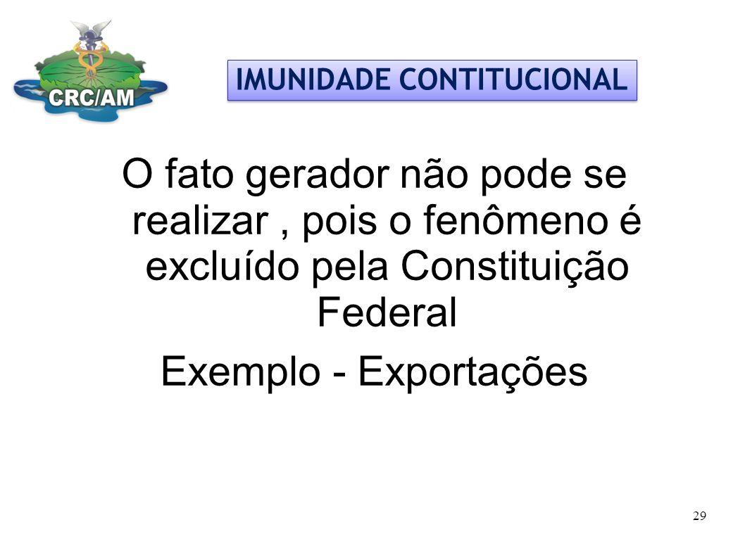 O fato gerador não pode se realizar, pois o fenômeno é excluído pela Constituição Federal Exemplo - Exportações IMUNIDADE CONTITUCIONAL 29