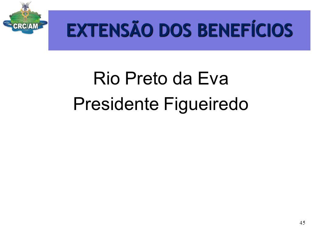 EXTENSÃO DOS BENEFÍCIOS Rio Preto da Eva Presidente Figueiredo 45