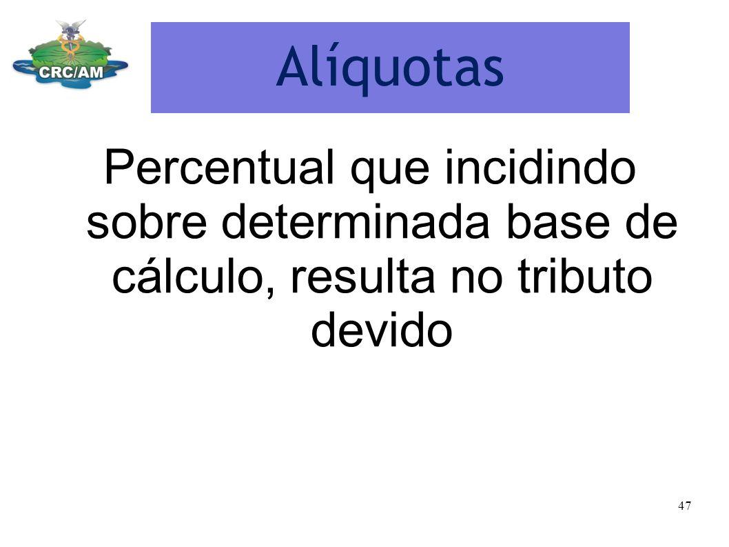 Alíquotas Percentual que incidindo sobre determinada base de cálculo, resulta no tributo devido 47