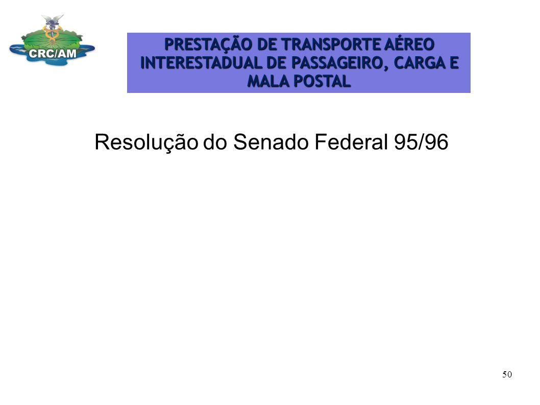 Resolução do Senado Federal 95/96 PRESTAÇÃO DE TRANSPORTE AÉREO INTERESTADUAL DE PASSAGEIRO, CARGA E MALA POSTAL 50