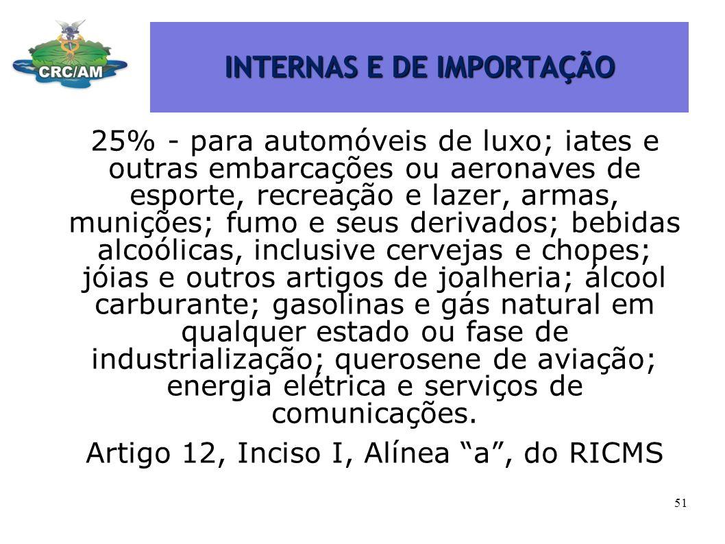 INTERNAS E DE IMPORTAÇÃO 25% - para automóveis de luxo; iates e outras embarcações ou aeronaves de esporte, recreação e lazer, armas, munições; fumo e