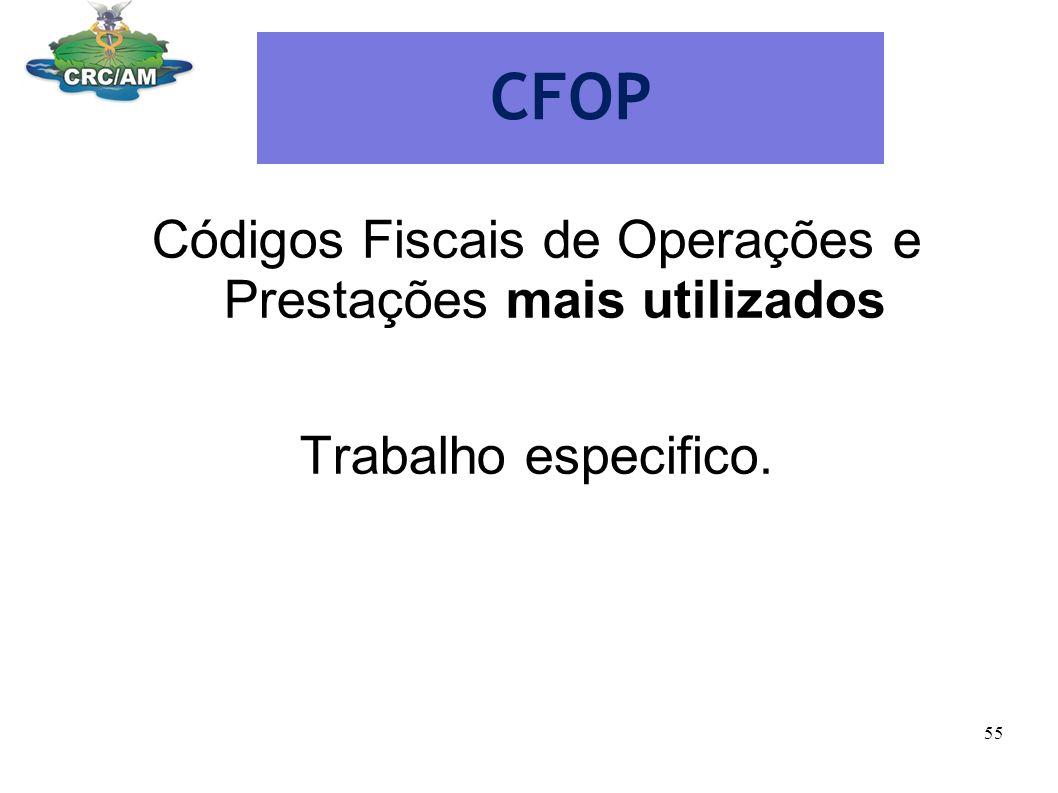 CFOP Códigos Fiscais de Operações e Prestações mais utilizados Trabalho especifico. 55