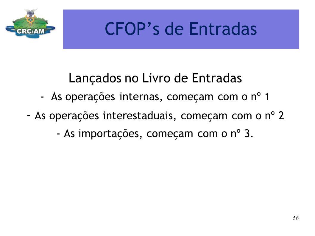CFOPs de Entradas Lançados no Livro de Entradas -As operações internas, começam com o nº 1 - As operações interestaduais, começam com o nº 2 - As impo