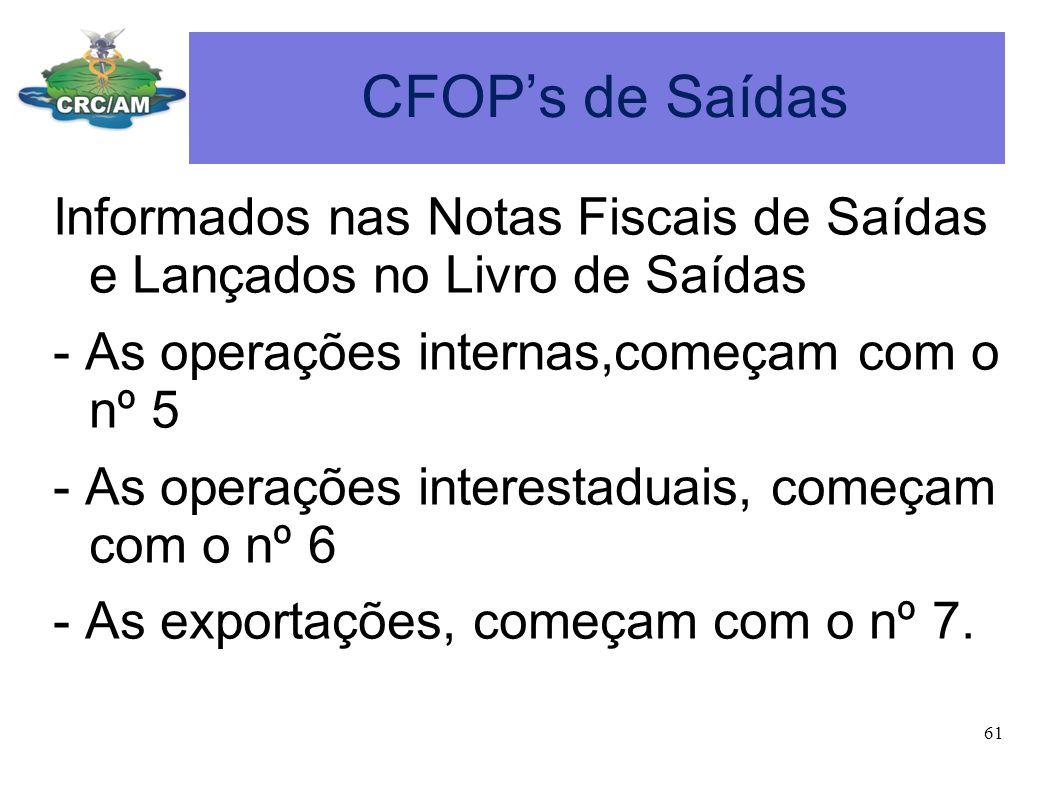 CFOPs de Saídas Informados nas Notas Fiscais de Saídas e Lançados no Livro de Saídas - As operações internas,começam com o nº 5 - As operações interes
