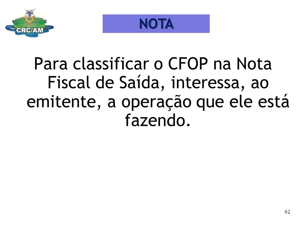 Para classificar o CFOP na Nota Fiscal de Saída, interessa, ao emitente, a operação que ele está fazendo. NOTA 62