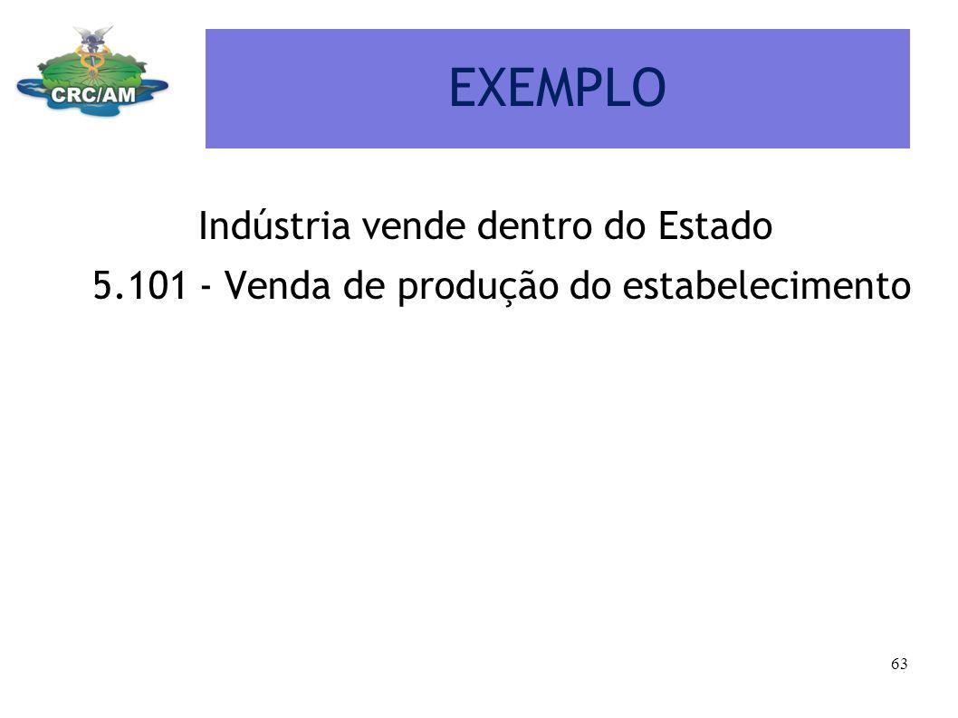 EXEMPLO Indústria vende dentro do Estado 5.101 - Venda de produção do estabelecimento 63