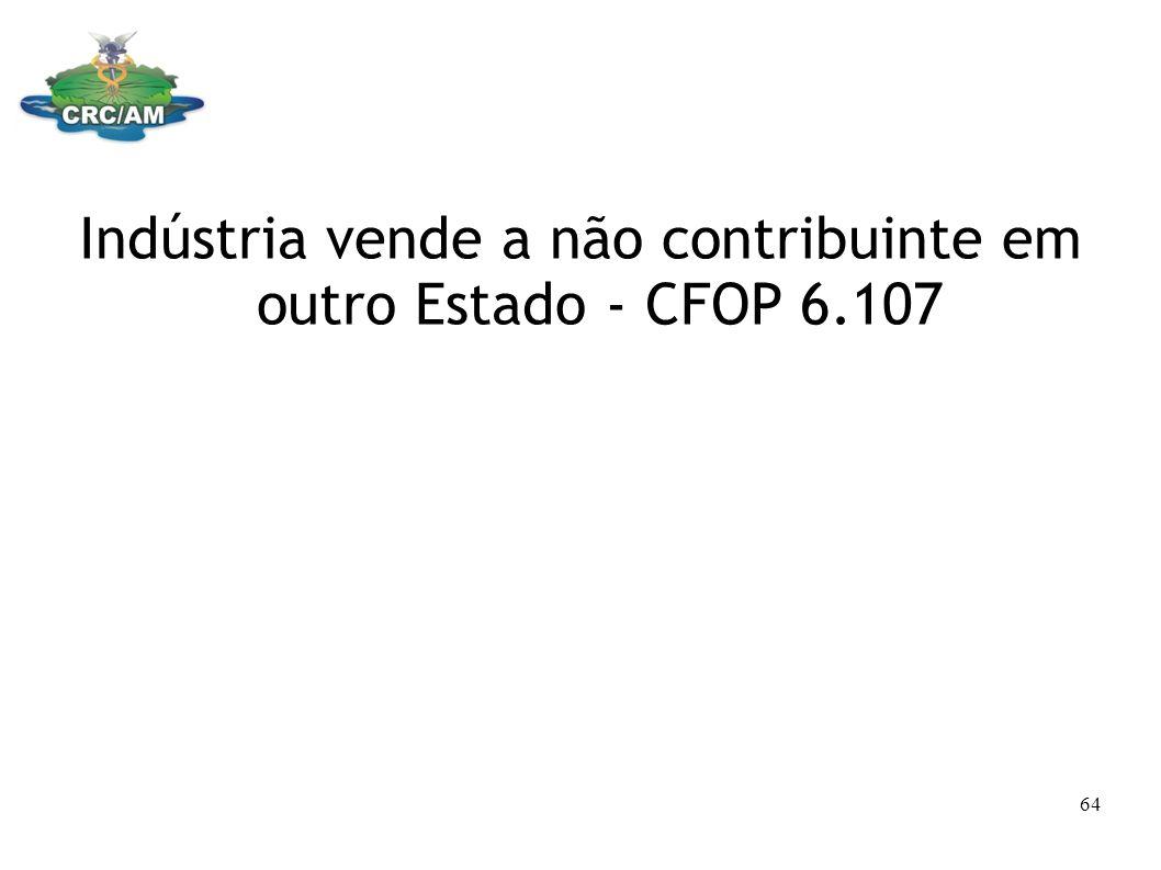 Indústria vende a não contribuinte em outro Estado - CFOP 6.107 64
