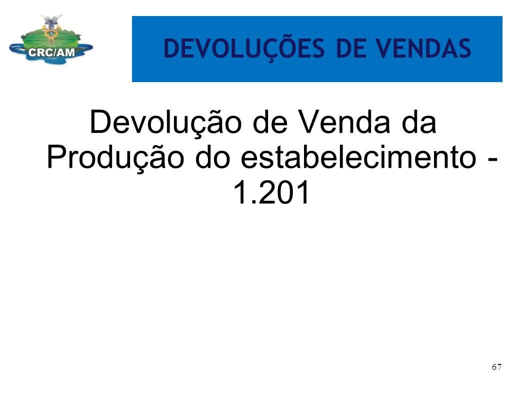 DEVOLUÇÕES DE VENDAS Devolução de Venda da Produção do estabelecimento - 1.201 67