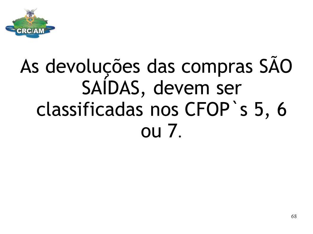 As devoluções das compras SÃO SAÍDAS, devem ser classificadas nos CFOP`s 5, 6 ou 7. 68