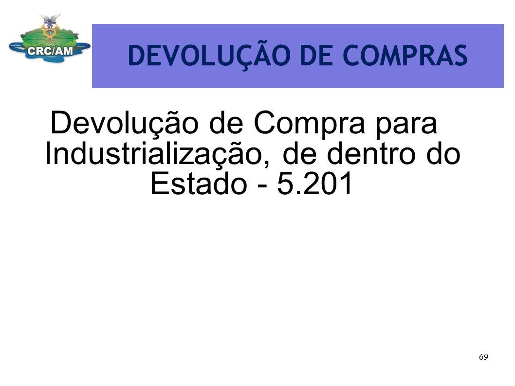 DEVOLUÇÃO DE COMPRAS Devolução de Compra para Industrialização, de dentro do Estado - 5.201 69