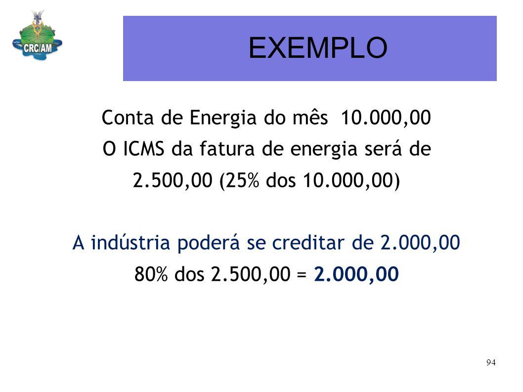 EXEMPLO Conta de Energia do mês 10.000,00 O ICMS da fatura de energia será de 2.500,00 (25% dos 10.000,00) A indústria poderá se creditar de 2.000,00
