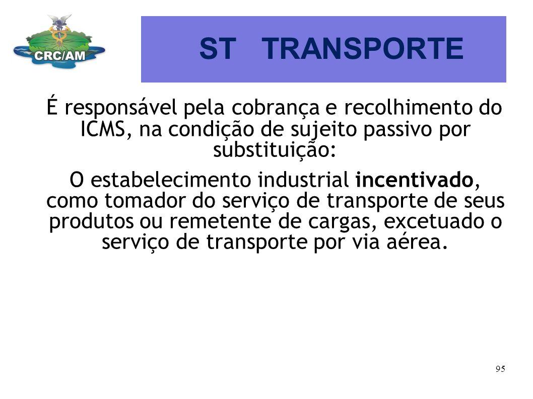 ST TRANSPORTE É responsável pela cobrança e recolhimento do ICMS, na condição de sujeito passivo por substituição: O estabelecimento industrial incent