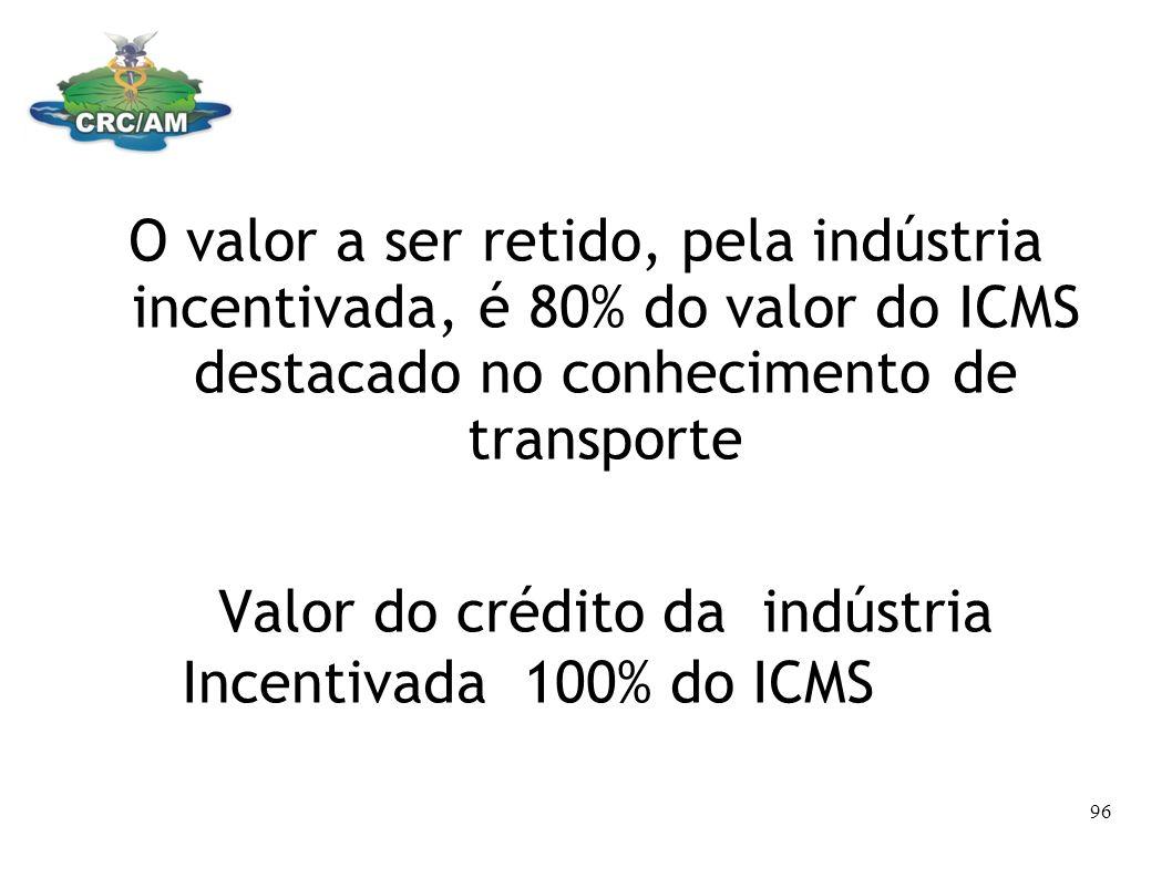 O valor a ser retido, pela indústria incentivada, é 80% do valor do ICMS destacado no conhecimento de transporte Valor do crédito da indústria Incenti
