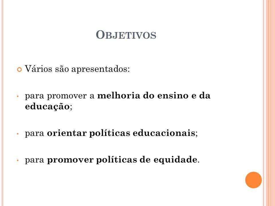O BJETIVOS Vários são apresentados: para promover a melhoria do ensino e da educação ; para orientar políticas educacionais ; para promover políticas