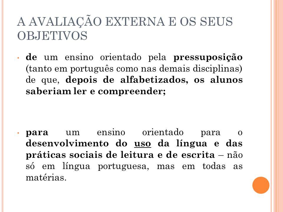 A AVALIAÇÃO EXTERNA E OS SEUS OBJETIVOS de um ensino orientado pela pressuposição (tanto em português como nas demais disciplinas) de que, depois de a