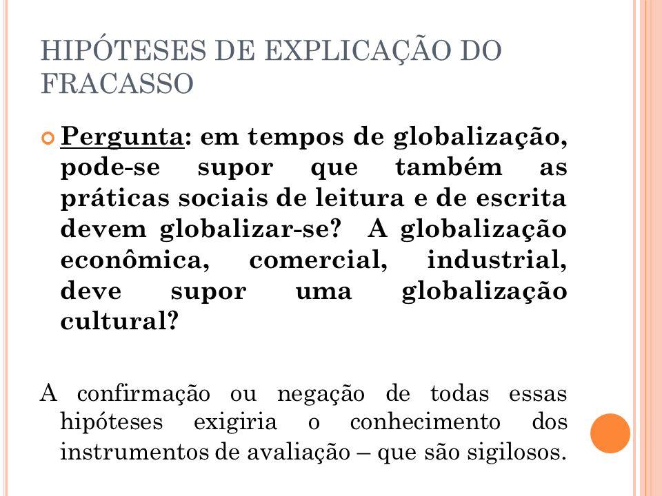 HIPÓTESES DE EXPLICAÇÃO DO FRACASSO Pergunta: em tempos de globalização, pode-se supor que também as práticas sociais de leitura e de escrita devem gl