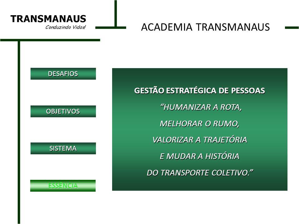GESTÃO ESTRATÉGICA DE PESSOAS HUMANIZAR A ROTA, HUMANIZAR A ROTA, MELHORAR O RUMO, VALORIZAR A TRAJETÓRIA E MUDAR A HISTÓRIA DO TRANSPORTE COLETIVO.