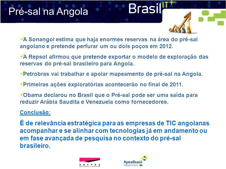 Pré-sal na Angola A Sonangol estima que haja enormes reservas na área do pré-sal angolano e pretende perfurar um ou dois poços em 2012. A Repsol afirm