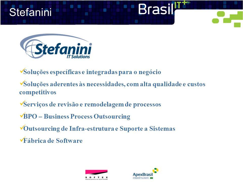 Stefanini Soluções específicas e integradas para o negócio Soluções aderentes às necessidades, com alta qualidade e custos competitivos Serviços de re
