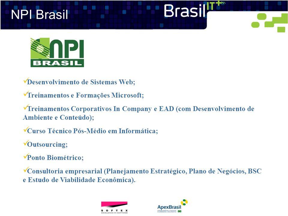 NPI Brasil Desenvolvimento de Sistemas Web; Treinamentos e Formações Microsoft; Treinamentos Corporativos In Company e EAD (com Desenvolvimento de Amb