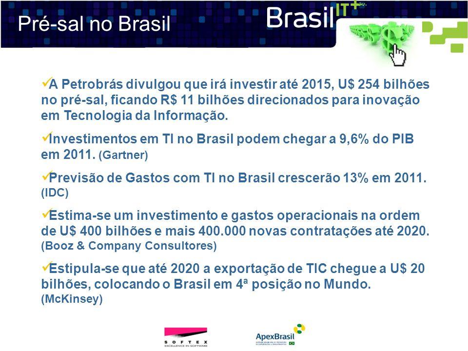 Pré-sal no Brasil A Petrobrás divulgou que irá investir até 2015, U$ 254 bilhões no pré-sal, ficando R$ 11 bilhões direcionados para inovação em Tecno