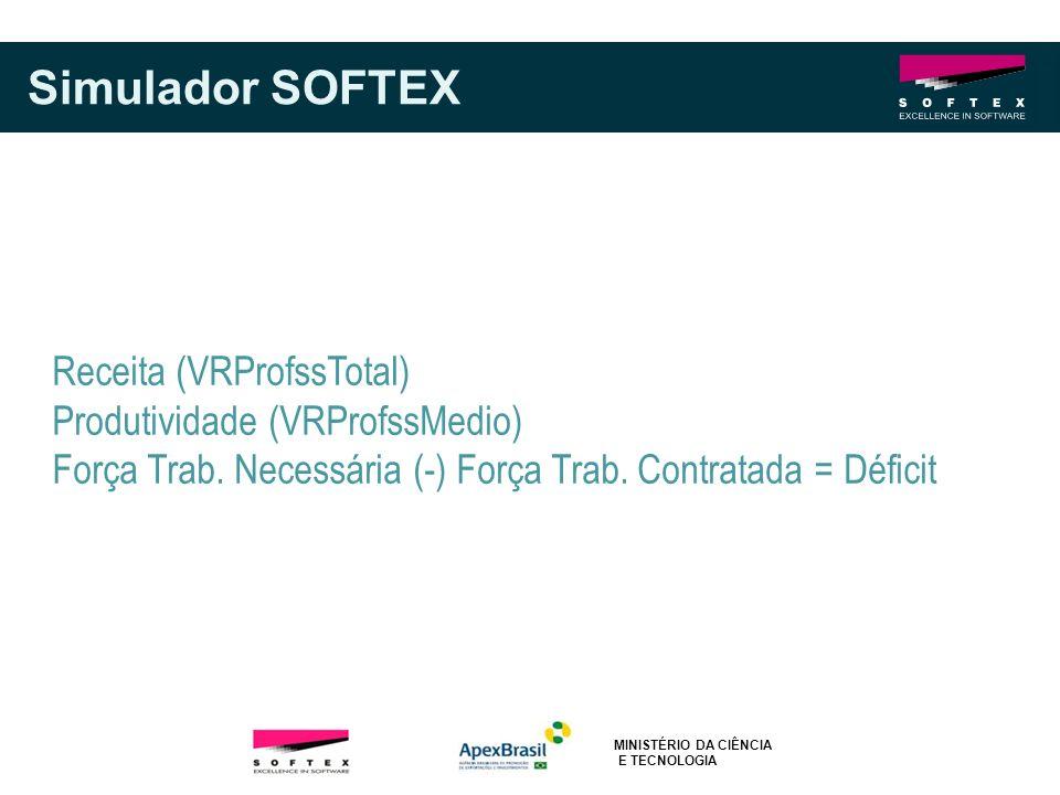 Simulador SOFTEX Receita (VRProfssTotal) Produtividade (VRProfssMedio) Força Trab. Necessária (-) Força Trab. Contratada = Déficit MINISTÉRIO DA CIÊNC