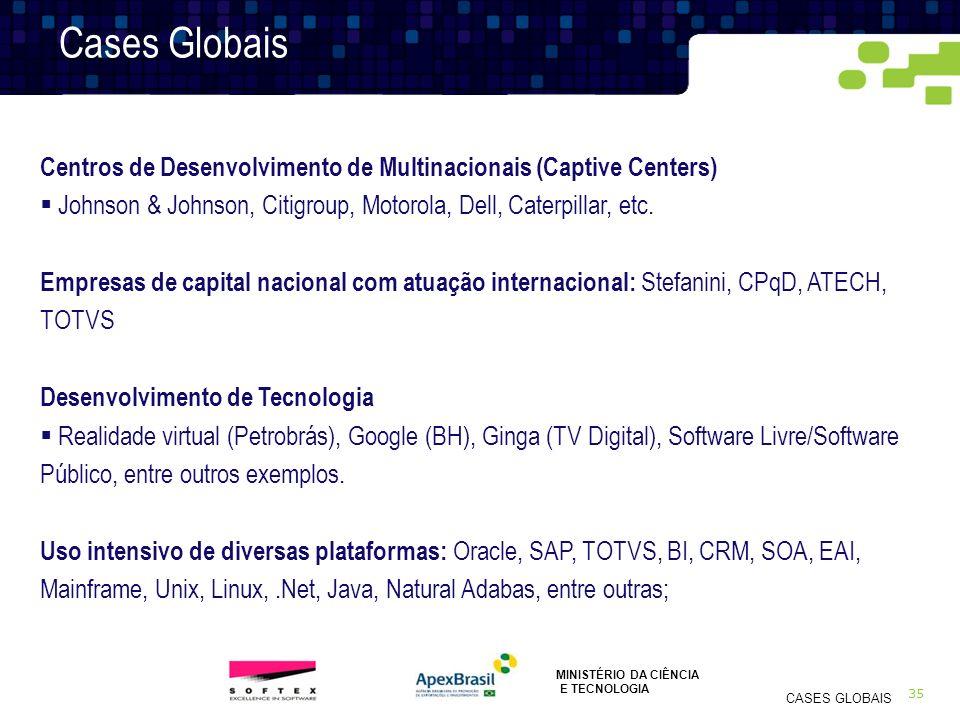 35 CASES GLOBAIS Cases Globais Centros de Desenvolvimento de Multinacionais (Captive Centers) Johnson & Johnson, Citigroup, Motorola, Dell, Caterpilla