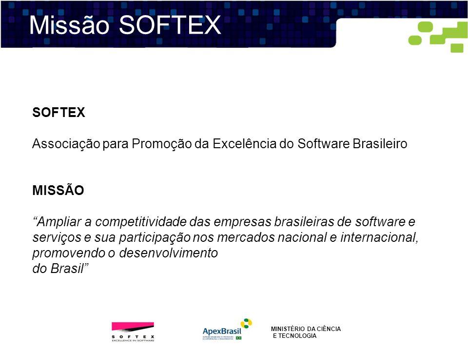 Missão SOFTEX SOFTEX Associação para Promoção da Excelência do Software Brasileiro MISSÃO Ampliar a competitividade das empresas brasileiras de softwa