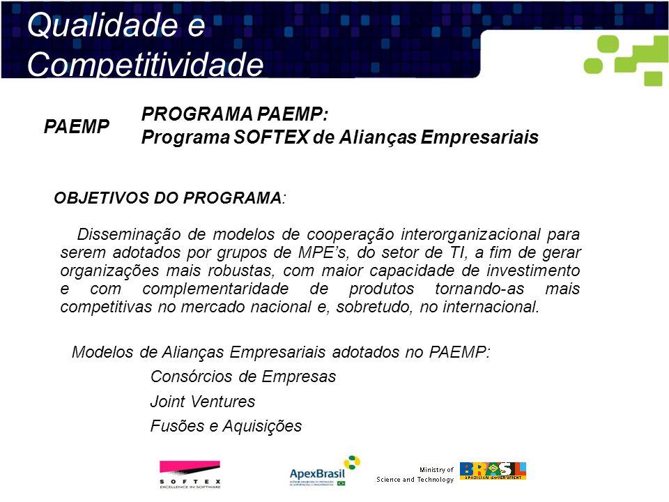 Qualidade e Competitividade PROGRAMA PAEMP: Programa SOFTEX de Alianças Empresariais PAEMP OBJETIVOS DO PROGRAMA: Disseminação de modelos de cooperaçã