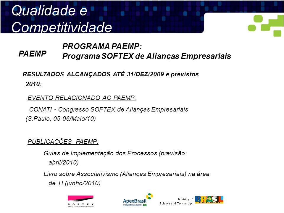 Qualidade e Competitividade PROGRAMA PAEMP: Programa SOFTEX de Alianças Empresariais PAEMP RESULTADOS ALCANÇADOS ATÉ 31/DEZ/2009 e previstos 2010: EVE
