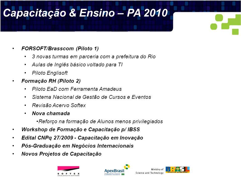 Capacitação & Ensino – PA 2010 FORSOFT/Brasscom (Piloto 1) 3 novas turmas em parceria com a prefeitura do Rio Aulas de Inglês básico voltado para TI P