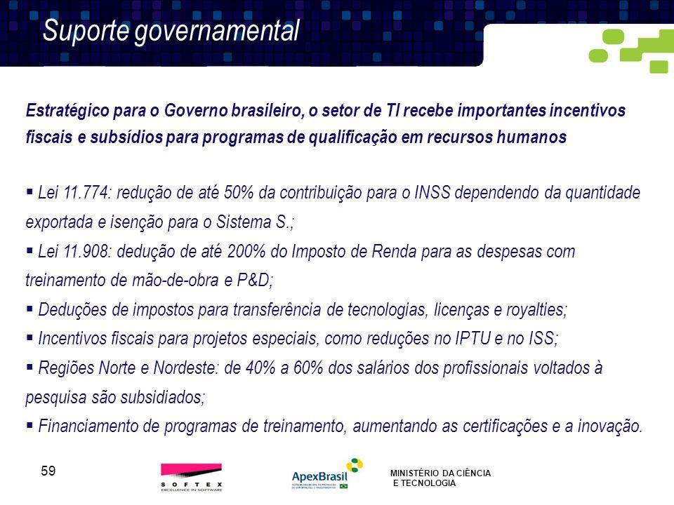 59 SUPORTE GOVERNAMENTAL Suporte governamental Estratégico para o Governo brasileiro, o setor de TI recebe importantes incentivos fiscais e subsídios