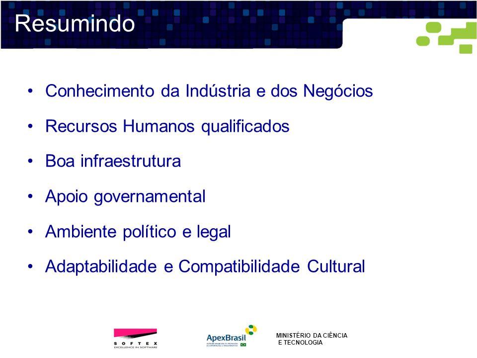 Conhecimento da Indústria e dos Negócios Recursos Humanos qualificados Boa infraestrutura Apoio governamental Ambiente político e legal Adaptabilidade
